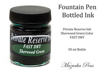 Fountain Pen Ink 50 ml Bottle - Private Reserve Ink,  Sherwood Green Ink Color - FAST DRY