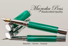 Handmade Fountain Pen handcrafted from Malachite TruStone with Chrome finish.  Cap view of pen.