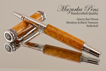 Handcrafted Rollerball Pen made from Black Cherry Burl with Rhodium and Black Titanium finish.