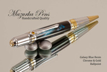 Handmade Art Deco Ballpoint Pen, Blue Galaxy Resin Pen, Chrome and Gold Finish - Looking from top of Ballpoint Pen
