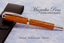 Handmade Rollerball Pen made from Lacewood with Rhodium and Gold trim.  Handcrafted pen by our artist.  Another view of pen cap. (black pouch not included)