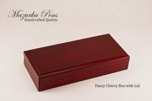 Cherry hinged Pen Box / Pen Case.  Felt lining.  Holds single large pen, shown closed