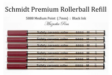 Schmidt 5888 Safety Ceramic Rollerball Refill, Medium Point (.7mm), Black Ink - 6 Pack