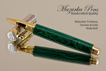 Hand Made Rollerball Pen, made from Malachite TruStone with Gold and Chrome finish.