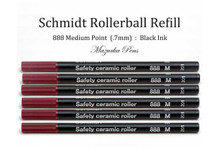 Six (6) Pack of Schmidt 888 Safety Ceramic Roller Ball Refill, Black Ink, Medium Point
