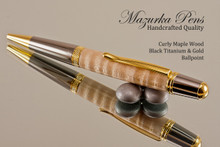 Handmade Pen, Curly Maple Wood Black Titanium Finish with Gold color Accents