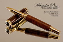Handmade Rollerball Pen made from Turkish Walnut Burl with Gold and Black trim.  Handcrafted pen by our artist.  Main view of pen cap.