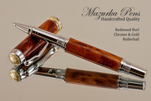 Hand Made Rollerball Pen made from Redwood Burl with Chrome finish and Gold highlights.