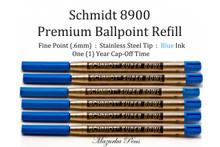 Schmidt 8900 Premium Ballpoint Refill - Blue Ink 6 Pack
