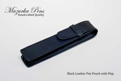 Black leatherette pen and / or pencil pouch.  Shown closed.