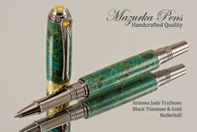 Art Deco Handcrafted Rollerball Pen, Arizona Jade TruStone Art Deco Rollerball Pen with Black Titanium and Gold Finish - Looking from front of rollerball Pen
