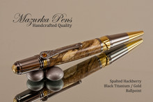 Handmade Ballpoint Pen, Spalted Hackberry with Black Titanium and Gold Finish