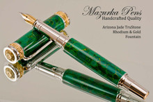 Handmade Fountain Pen handcrafted from Arizona Jade TruStone with Rhodium and Gold finish.  Nib view of pen.