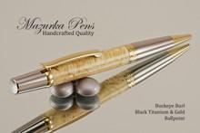 Handmade Ballpoint Pen, Buckeye Burl with Black Titanium and Gold Finish - Main view of Ballpoint Pen