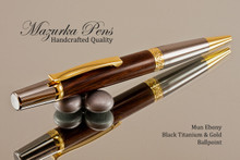 Handmade wood pen made from Mun Ebony.  Handcrafted pen by our artist.  Top view of pen .