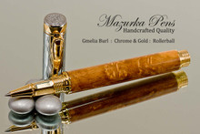 Handmade Rollerball Pen made from Gmelia Burl with Gold and Chrome trim.  Handcrafted pen by our artist.  Tip view of pen cap.