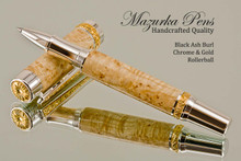 Hand Made Rollerball Pen made from Black Ash Burl with Gold and Chrome finish.  Main view of pen.