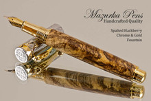 Handcrafted wood pen made from Spalted Hackberry wood with Chrome and Gold finish.  Cap view of pen and cap.