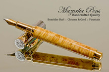 Hand Made Fountain Pen made from Boxelder Burl with Gold and Chrome finish.  Tip view of pen and cap.