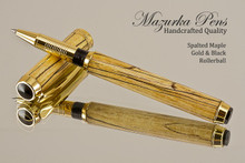 Hand Made Rollerball Pen made from Spalted Maple with Gold and Black finish.  Side view of pen and cap.