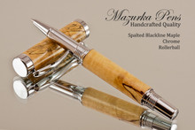 Hand Made Rollerball Pen made from Spalted Blackline Maple with Chrome finish.  Main view of pen and cap.