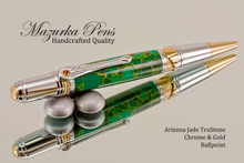 Handmade Ballpoint Pen, Arizona Jade TruStone Art Deco Ballpoint Pen, Gold and Chrome Finish - Looking from Top of Ballpoint Pen