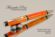 Handcrafted pen made from swirling Orange and Yellow Acrylic with Satin Chrome finish and Black accents.  Handcrafted pen by our artist.  Top of the pen,