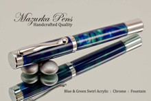 Handmade acrylic pen made from blue and green swirl acrylic.  Handcrafted Fountain Pen - made in our shop, no two alike.  Main view of pen body