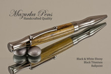 Handcrafted pen made from Black & White Ebony with Black Titanium  finish.  Main view of pen cap.