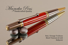 Handmade Ballpoint Pen, Red / Orange TruStone with Black Titanium and Gold Finish - Main view of Ballpoint Pen