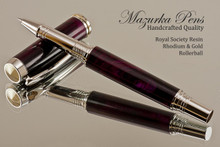 Handmade Rollerball Pen handcrafted from Royal Society Resin with Rhodium and Gold finish.  Main view of pen.