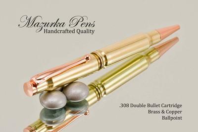 Handmade Double 308 Caliber Ballpoint Bullet Cartridge Pen, Brass Finish - Looking from Top of Pen (stock photo)
