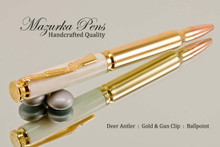 Deer Antler Ballpoint Pen, Handmade .30 Caliber Bullet Ballpoint Pen, Gold, Copper and Brass Finish - Looking from Main View of Pen