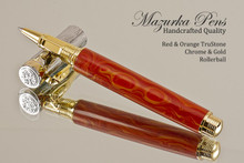 Handmade Rollerball Pen Handcrafted from Red-Orange TruStone with Chrome and Gold finish.  Main view of pen and cap.