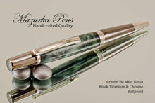 Handmade Creme 'de Mint Resin Ballpoint Pen with Black Titanium and Chrome finish.  Main view of the pen.