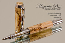 Handmade Rollerball Pen handcrafted from Spalted Hackberry wood Chrome and Gold finish.  Main view of pen.