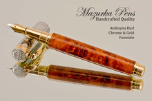 Hand Made Fountain Pen made from Amboyna Burl with Chrome and Gold finish.  End view of pen and cap.