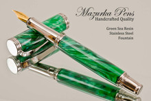 Handmade Writing Instrument Fountain Pen  Sea Green Poly Resin, Stainless Steel Finish - Main View
