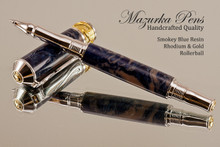 Handmade Rollerball Pen Handcrafted from Smokey Blue Resin with Rhodium & Gold.  Bottom view of pen and cap.