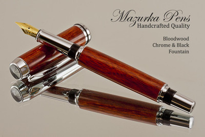 Handcrafted Fountain Pen made from Bloodwood with Chrome and Black finish.  Main view of pen and cap.