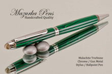 Handmade Stylus / Ballpoint Pen, Malachite TruStone, Chrome and Gunmetal Finish - Looking from top of Ballpoint Pen