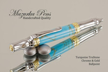 Handmade Sceptre Ballpoint Pen, Turquoise and Gold TruStone Ballpoint Pen, Gold and Chrome Finish - Looking from top of Ballpoint Pen