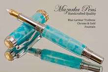 Handmade Fountain Pen handcrafted from Blue Larimar TruStone with Chrome and Gold finish.  Main view of pen.