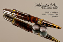Handmade Ballpoint Pen made from Earth's Core Acrylic / Resin with Black Titanium / Gold color finish.
