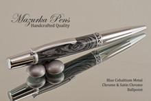 Handmade Metal Black Lava and Cobaltium Chrome/Satin Chrome Ballpoint Pen.  Main view of pen