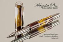 Handmade Rollerball Pen from Seminole Resin Black Titanium/Rhodium finish.  Main view of pen.