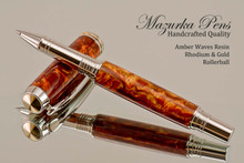 Handmade rollerball pen made from Amber Waves Resin with Rhodium / Gold.  Handcrafted pen by our artist.  Main view of pen cap.