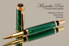 Handcrafted Rollerball Pen made from Malachite with Gold and Black finish.  Side view of pen and cap.