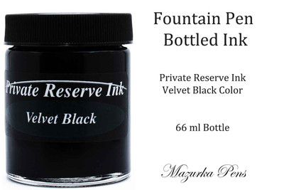 Fountain Pen Ink 66 ml Bottle - Private Reserve Ink,  Velvet Black Ink Color