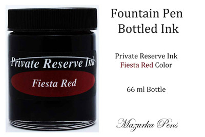 Private Reserve Ink - Fiesta Red color, 66 ml bottled liquid fountain pen ink